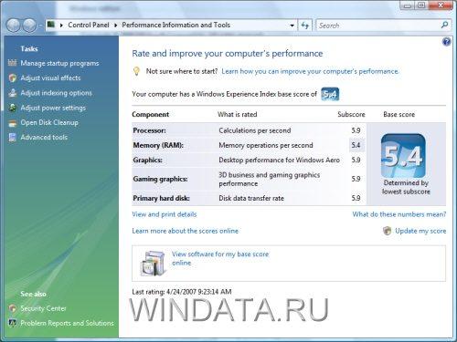 Производительность Windows Vista