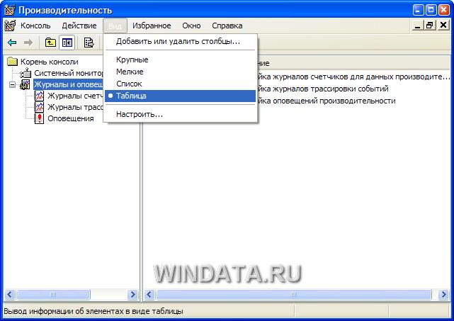 Производительность Windows XP, вид