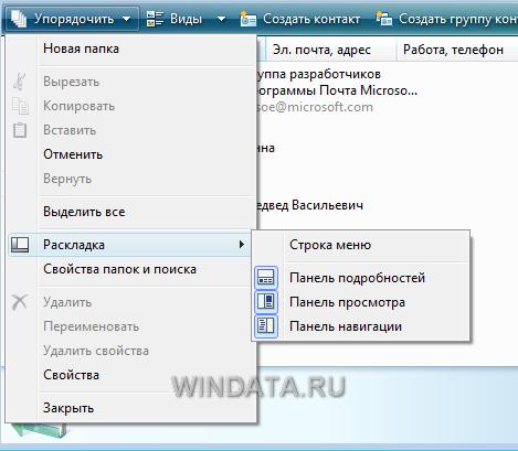 Контакты Windows, панель просмотра