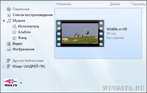 видео в Windows Media Player 12
