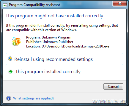 program installed not correctly