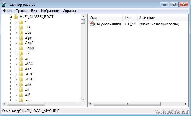 Ассоциации файлов: редактор реестра