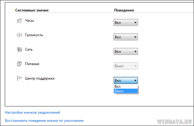 Выключить значок Центр поддержки в Windows 7
